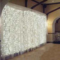 lichter vorhang großhandel-4.5M x 3M 300 LED Licht Hochzeit Eiszapfen Weihnachtslicht-LED-Schnur-feenhafte Licht-Girlande-Geburtstags-Party Garten Vorhang Dekorationen für Zuhause