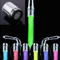 Wholesale Led Shower Faucets - 2016 New Fashion LED Water Faucet Stream Light 7 Colors Changing Glow Shower Tap Head Kitchen Temperature Sensor hot selling