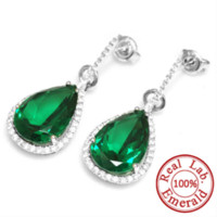 Wholesale Real Emerald Earrings - 4.54 ct Nano Russian Emerald Drop Earrings Real Pure 925 Solid Sterling Silver Fabulous Charm Jewelry For Women 2015 Brand New