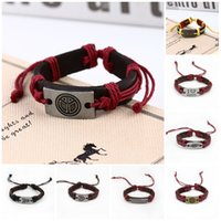 Wholesale Hand Made Bracelets For Men - Charm Bracelets for Women Punk Hand Made Braided Charm Bracelet Bangles Gold Head Wristband Cuff Leather Bracelet For Men Leather Bracelet