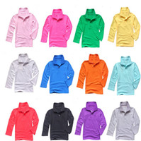 Wholesale Wholesale Pink Polos - Big children long sleeve polos shirt pure solid color boys spring autumn shirts girls boys crocodile embroidery top 7-14T student shirt