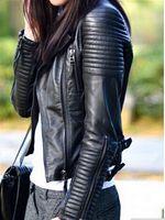 motosiklet için ceket deri toptan satış-Toptan-Deri Ceket Kadın jaqueta de couro feminina motosiklet bayanlar deri ceket kadın ceket süet ceket PU ceket ceket