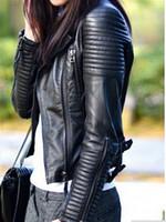 bayanlar motosiklet ceketleri toptan satış-Toptan-Deri Ceket Kadınlar jaqueta de Couro Feminina motosiklet bayan deri ceket kadın ceket süet ceket PU ceket ceket