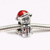 Wholesale Berry Bracelet - Authentic 925 Silver Beads Christmas Kitten Charm, Berry Red Enamel For European Bracelet Bangle Diy Jewelry Gift