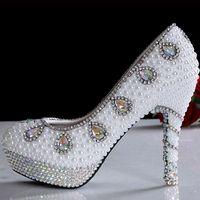 Wholesale shoes wedding bridal for sale resale online - 2019 Hot sale White Pearl Bridal Dress Shoes elegant women fashion crystal pearl high heel wedding shoes for bride sexy party dress shoes