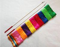Wholesale Gym Stick - 300pcs lot Free Shipping 4M Gym Dance Ribbon Rhythmic Art Gymnastic Streamer Twirling Rod Stick 160404#