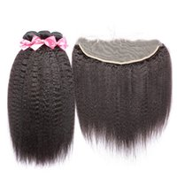 Wholesale Hair Pic - 8A Mongolian kinky straight lace frontal closure with bundles 100% virgin human hair italian coarse yaki with full lace frontal 4 pics lot
