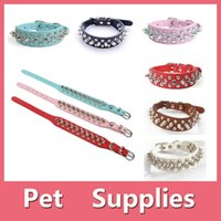 Wholesale Spiked Shirts - Adjustable PU Leather Punk Rivet Spiked Studded Pet Puppy Dog Collar Neck Strap With 6 Colors