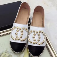 Wholesale Lambskin Leather Shoes - Real Lambskin Famous Brand Espadrilles Women Espadrilles Top Quality Women Flat Shoes Comfortable casual loafers Size EUR35-42 with Box