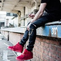 pantalones jogger de piel sintética para hombre al por mayor-Al por mayor-Swag Mens Hip Hop pantalones de cuero con oro Cremalleras de la rodilla PU Faux Leather Joggers Pantalones Pantalones para Hipster