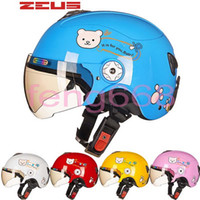 Wholesale Child Motorcycle Helmet - 2016 New Taiwan ZEUS children's helmets Four Seasons half face Motorcycle electric bicycles helmet Harley style child children's helmets ABS
