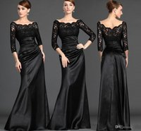 Wholesale Plus Size Bride Elastic Lace - Cheap Best Selling Formal Mother Of The Bride Dresses Lace Top 3 4 Long Sleeves Sheath Vintage Black Mother Evening Gowns Plus Size