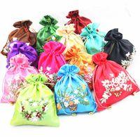 çince nakış hediye poşetleri toptan satış-Toptan ucuz Wholesale10pcs Çin Klasik İpek İşlemeli Takı Kılıfı Çanta Hediye Çantası