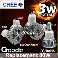 Wholesale Dimmable Led 3x1w - LED Bulbs Promotion!Retail High Power CREE 3W 3x1W Dimmable GU10 MR16 E27 LED Light Lamp Spotlight LED Bulb