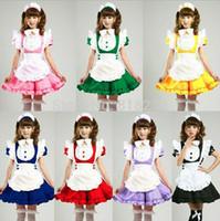 Wholesale Cosplay Inu X Boku - Wholesale-Inu x Boku SS 7Colors Lolita Sweet Apron Maid Dress Meidofuku Uniform Outfits Anime Cosplay Costume M-XL