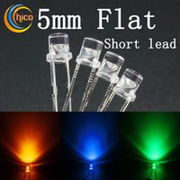 Wholesale led multicolor bulbs for sale - 5mm led diode chip Blue Red Dip Led mm Flat Top Led Multicolor Water Clear Super Bright Light Lamp Bulb short lead