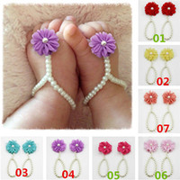 Wholesale Summer Sandal Wholesale - New Arrivals Baby Toddler Foot Rings Adjournment Barefoot Sandals First Walker Shoes Pearls Flower Resin Chiffon 13CM GA411 Free Shipping