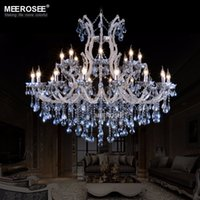 Wholesale Decorative Crystal Glasses - Large European style crystal candle lamp 24-light colored glass massive chandelier hotel hallway decorative lighting fixture vintage