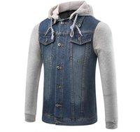 Wholesale Korean Overcoat Mens - Korean Style Men Denim Jackets With Hooded 2017 Autumn Winter Slim Overcoats Mens Jean Jackets Blue Washed Casual Outwear