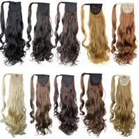 kıvırcık sentetik saç toptan satış-Saç uzantıları üzerinde sentetik saç at kuyruğu klip Kıvırcık saç parçaları 24 inç 120g Drawsring midilli kuyrukları daha fazla renk