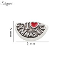 Wholesale Glass Memory Living Locket Letters - Antique Silver Plated l Love Gymnastics Charms DIY Floating Lockets Charms for Bracelet Living Memory Glass Locket Necklaces