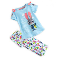 Wholesale Tshirt Pants Tops - 2016 New Cartoon Zootopia Girls Clothing Sets Children Kids Baby Girl Rabbit Short Sleeve Tshirt Tops Pants 2pcs Set Cute Girl Suit Outfits
