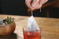 x corda venda por atacado-Vazio Saquinhos de Chá Saquinho de Chá Cachecol Cura Selo Filtro De Papel De Chá De 5,5x7 CM para a Herb Chá Solto