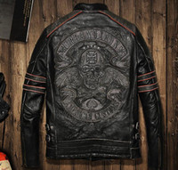 Wholesale Genuine Leather Clothes - Frayed Harley Jackets men Slim leather motorcycle clothing urban baron genuine leather mens motor jacket collar embroidered skull