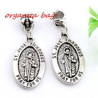 Barato Liga Oval Encantos-Vendas quentes! 100pcs Antique Silver Alloy ST. JUDE THADDEUS Jesus Oval Medal Charms Dangle Bead Fit Charm Pulseira 16X 41MM DIY Jewelry