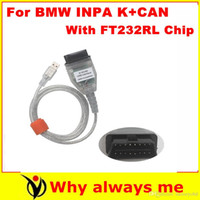 Wholesale Bmw D Can - 2015 Newest !! BMW Inpa K + D-can with FT232RL Chip Diagnostic Cable BMW OBD to USB interface INPA Ediabas for BMW with freeshipping