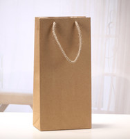 Wholesale wine gift boxes packaging resale online - Reusable Kraft Paper Red Wine Bag Single And Double Gift Packaging Champagne Box Gift Handbags Easy To Carry sx C R