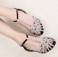 Wholesale Ladies Retro Sandals - Summer New Women Fashion Retro Flats Sandals Ladies Sexy Hollow Out Fish Mouth Slippers Girls Roman Rhinestone Marry Shoe T Style Shoes