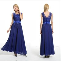 Honorable Royal Blue Lange Prom Party Kleider Formal Perlen Abend Abnutzung Appliques Body Sheer Neck Brautjungfer Graduierung Kleider Auf Lager