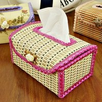 Wholesale Toliet Paper Holder Cover - Free Shipping !!! Bamboo Tissue Boxes Handmade Facial Napkin Cover Holder Car Living Room Toliet Paper Case
