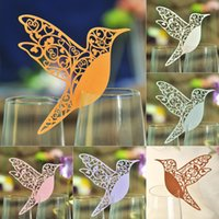 Wholesale Place Cards Birds - 100pcs Table Mark Escort Wine Glass Laser Cut Bird Name Place Cards for Wedding Party Decoration Products Favor Supplies Free Shipping
