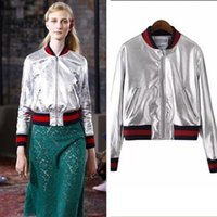 parlak kış toptan satış-2018 Ince Ceket Kadın Kısa Bombacı Ceketler Fermuar Yeni Casual Kadın Ceket Parlak yüzey kış beyzbol üniforma hırka ceketler