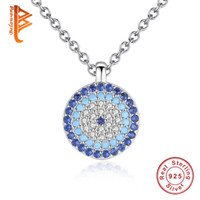 Wholesale Evil Eye Crystal Pendant - BELAWANG for Women 925 Sterling Silver Evil Eye Pendant Necklace Blue&White Clear Crystal CZ Necklace New Fashion Jewelry Gift Free Shipping