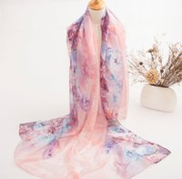 Wholesale Long Scarves For Summer - Western Style Fashion Luxury Gergeous Scarf For Women Summer Lady Necessary Long Silk Scarves Fix Position Peony Pattern 371