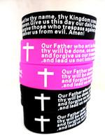 christliche kreuz armbänder großhandel-20 stücke Inspirational Englisch Lords Prayer Christian Mens FRAUEN Mode Kreuz Silikon armbänder großhandel armband manschetteJewelry Lots