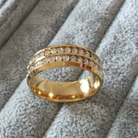 Wholesale Men Diamond Ring Designs - Famous Brand Luxury 18K gold Plated CZ diamond rings Top Classic Design Wedding Band lovers Ring for Women and Men