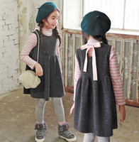 Wholesale Knitting Long Vests - Mother dauther outfits girls womens stripe long sleeve T-Shirt+bows ribbon knitting vest dress 2pc clothing sets autumn family clothes T4896