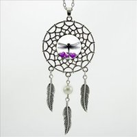 2016 Bijoux Trendy style Feather Dragonfly Purple Hearts Necklace Dream Catcher collier pendentif DC-00209