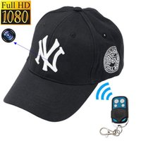 Wholesale Hidden Cam Remote - Mini camera 1080P HD NY Baseball cap model SPY Hidden Camera Video recorder mini DV DVR Spy cam Surveillance Remote control hats Cameras