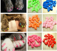 Wholesale pet dog caps - 20pcs lot Colorful Cats Dogs Kitten Paws Grooming Nail Claw Cap Adhesive Glue Soft Rubber Pet Nail Cover Paws Caps Pet Supplies