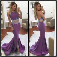 Wholesale Stretch Satin Halter Dress - Two Pieces Long Evening Dress 2017 New Arrival Halter Sleeveless Light Purple Stretch Satin Mermaid Formal Evening Gowns With Split Slit