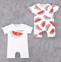 Wholesale Red Bananas - lovely fruit design kids rompers newborn Hot design in UA 100% cotton cartoon watermelon applepie apple banana