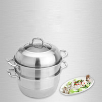 Wholesale Steamer Free Shipping - 32*39cm High Quality Stainless steel Steamer, durable Safety health, multifunctional soup pot, Double Boilers, free shipping