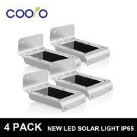yeni güneş ledli ışıklar toptan satış-Wholesale-4 Paket Yeni LED Soalr ışık 2nd Generation16LED Açık Kablosuz Güneş Enerjili PIR Hareket Sensörü Işık Duvar ışık Led sensör lambası