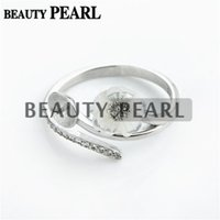Bulk of 3 Pieces Flower Ring Configurações Carved White Shell 925 Sterling Silver Zircon Pearl Mount