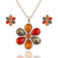 Wholesale Wholesale Acrylic Jewel Necklace - European and American retro luxury jewels colored wild flowers clavicle chain necklace sets jewelry hypoallergenic earrings piece suit women